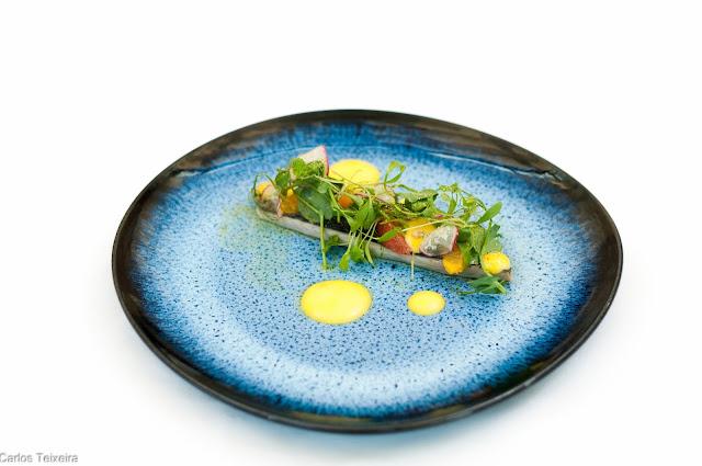 Filete de Cavala curada, salada de ervas frescas e rabanete, com emulsão de açafrão