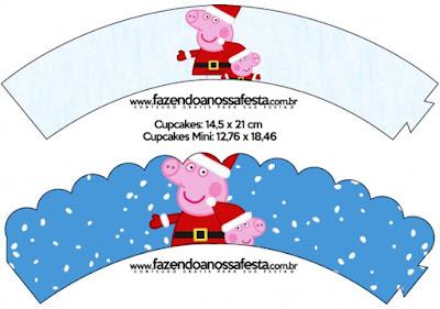 Wrappers para cupcakes de Peppa Pig en Navidad.