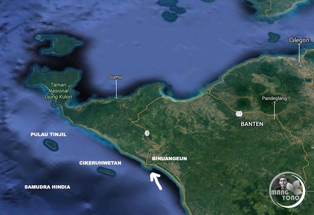 FOTO MAP 3 : Pantai Binuangeun dilihat dari atas ( Google Map )
