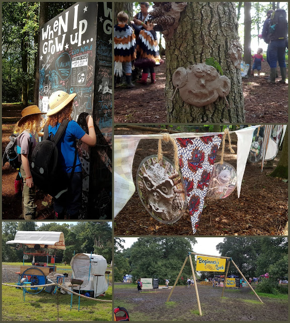 Collage of photos from Just So Festival Spellbound Forest - clay faces on trees, chalk board when I grow up, flags