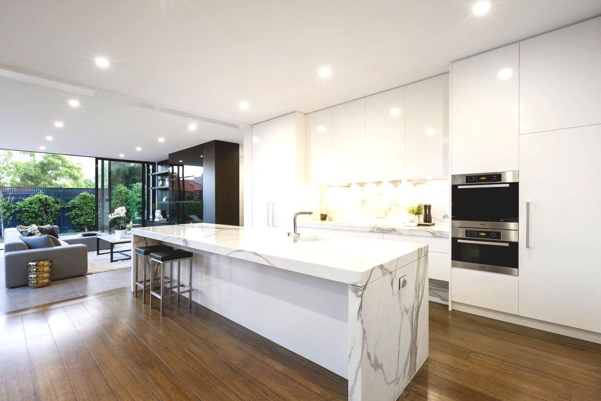 white marble kitchen polished wooden floor