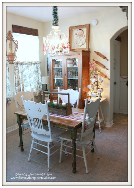 Breakfast Nook-Pressback Chairs-Farmhouse Christmas Kitchen-From My Front Porch To Yours