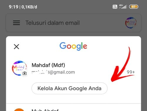 Mengganti password gmail di hp