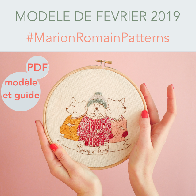 modèle de broderie Gang of bears #MarionRomainPatterns