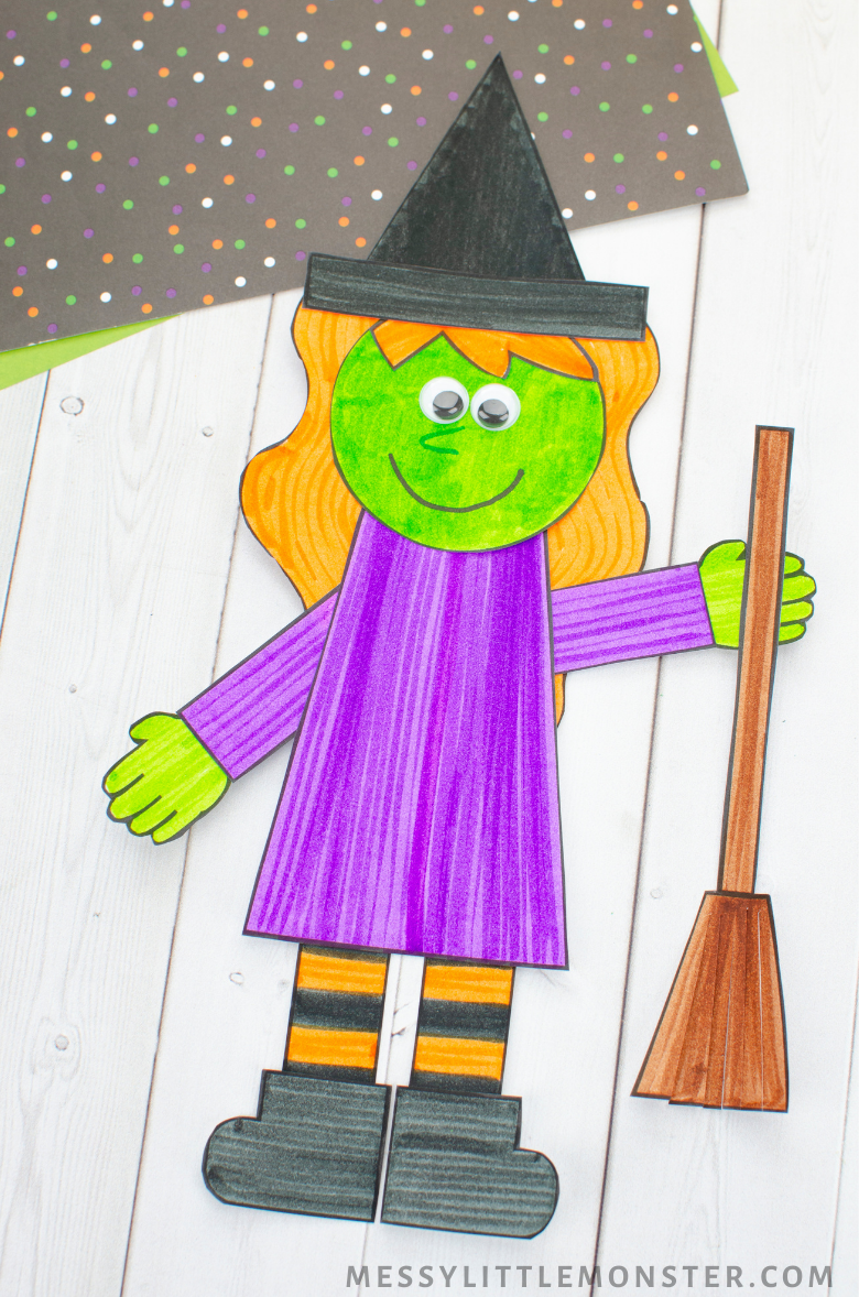 Halloween witch paper craft for kids