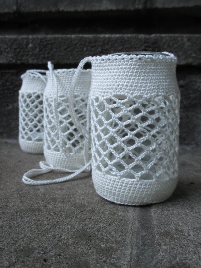 DIY haken/crochet: sfeerlichtjes voor in de tuin versie 2/garden candle lights version 2