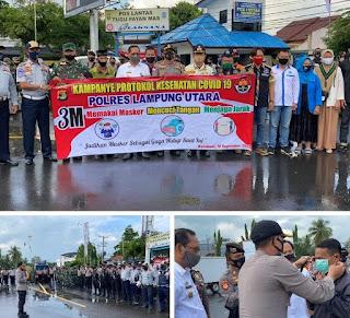 Lampung Utara Melakukan Aksi pembagian Masker sebanyak 15000 sebagai Kampanye protokol kesehatan