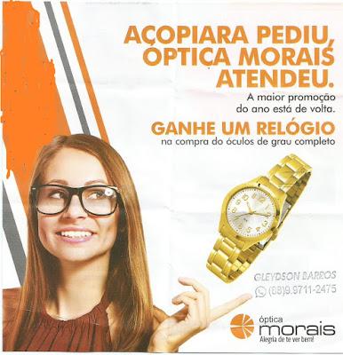 A maior promoção em óculos, continua na óptica Morais. Atendimento com  oftalmologista todas ás segundas-feiras, o dia todo. A única da cidade que  faz a ... a3d738c181