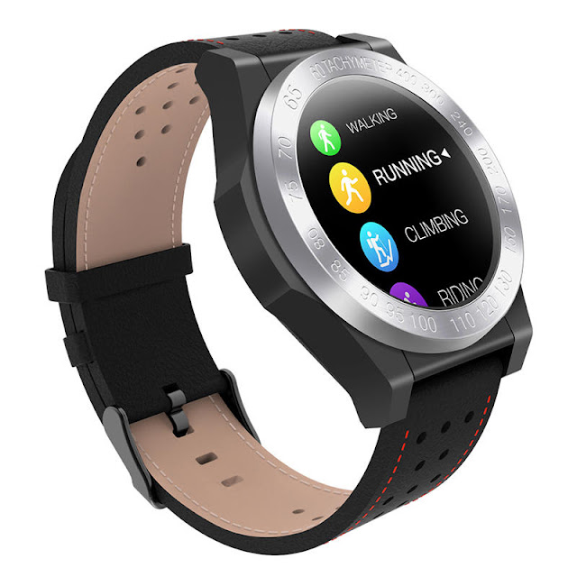 Bakeey CK25 1.3inch Full-circle Color Screen 24h Heart Rate Monitor Leather Strap Smart Watch