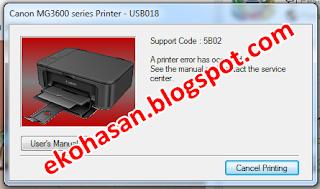 MG3670 error 5B02, MG3670 error 5B00