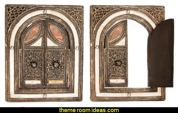 Moroccan  Mirror with Arched Doors I Dream of Jeannie theme bedrooms - Moroccan style decorating - Jeannie bedroom harem style - Arabian Nights theme bedrooms - bed canopy - Moroccan stencils - I dream of Jeannie bottle - satin bedding - throw pillows - Moroccan furniture