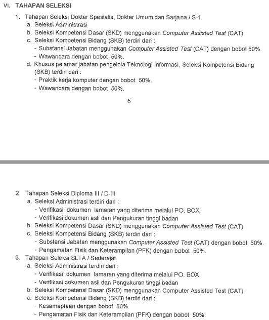 Tahapan Seleksi CPNS Kemenkumham 2017