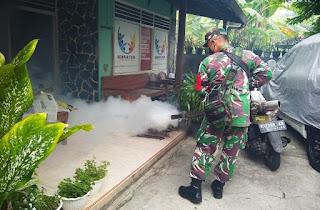 Cegah Nyamuk Berbahaya Bagi Manusia Babinsa Serka Bambang Bantu Fogging