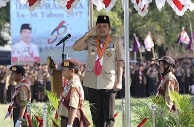 Gubernur Lampung Ridho Ficardo Pimpin Apel Besar Peringatan Hari Pramuka ke-56