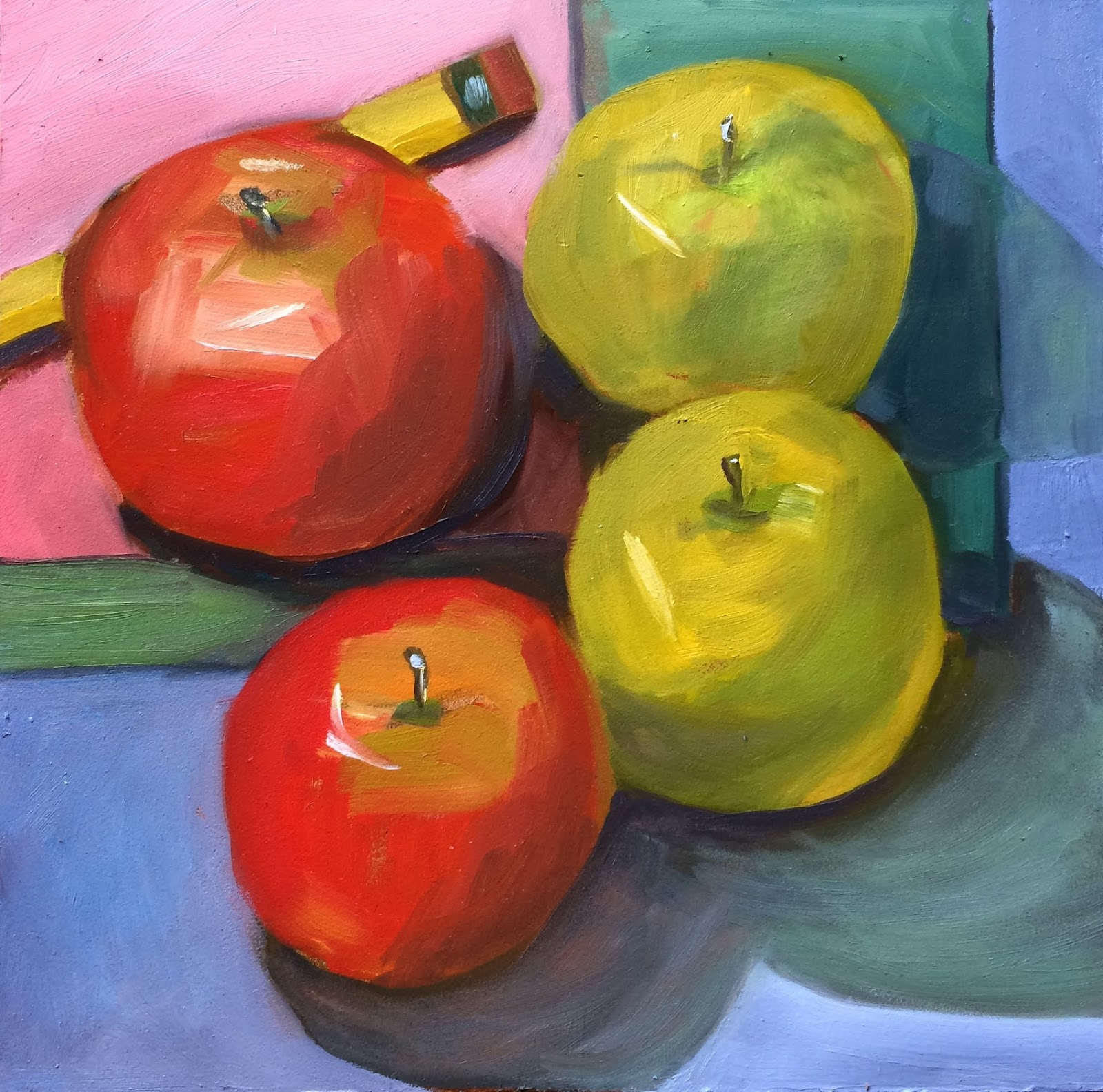 kim s daily painting four apples