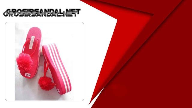 Wedges Pompom GSJ - Pusat Sandal Wedges Murah