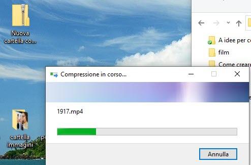 compressione in corso durante aggiunta di file allo zip