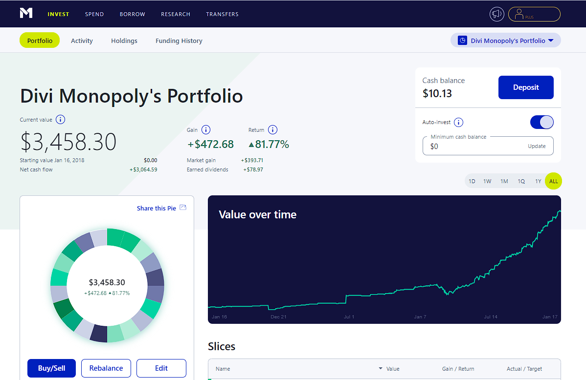 Image of Divi Monopoly's M1Finance Portfolio as of 1.17.21 | DividendRaptor.com