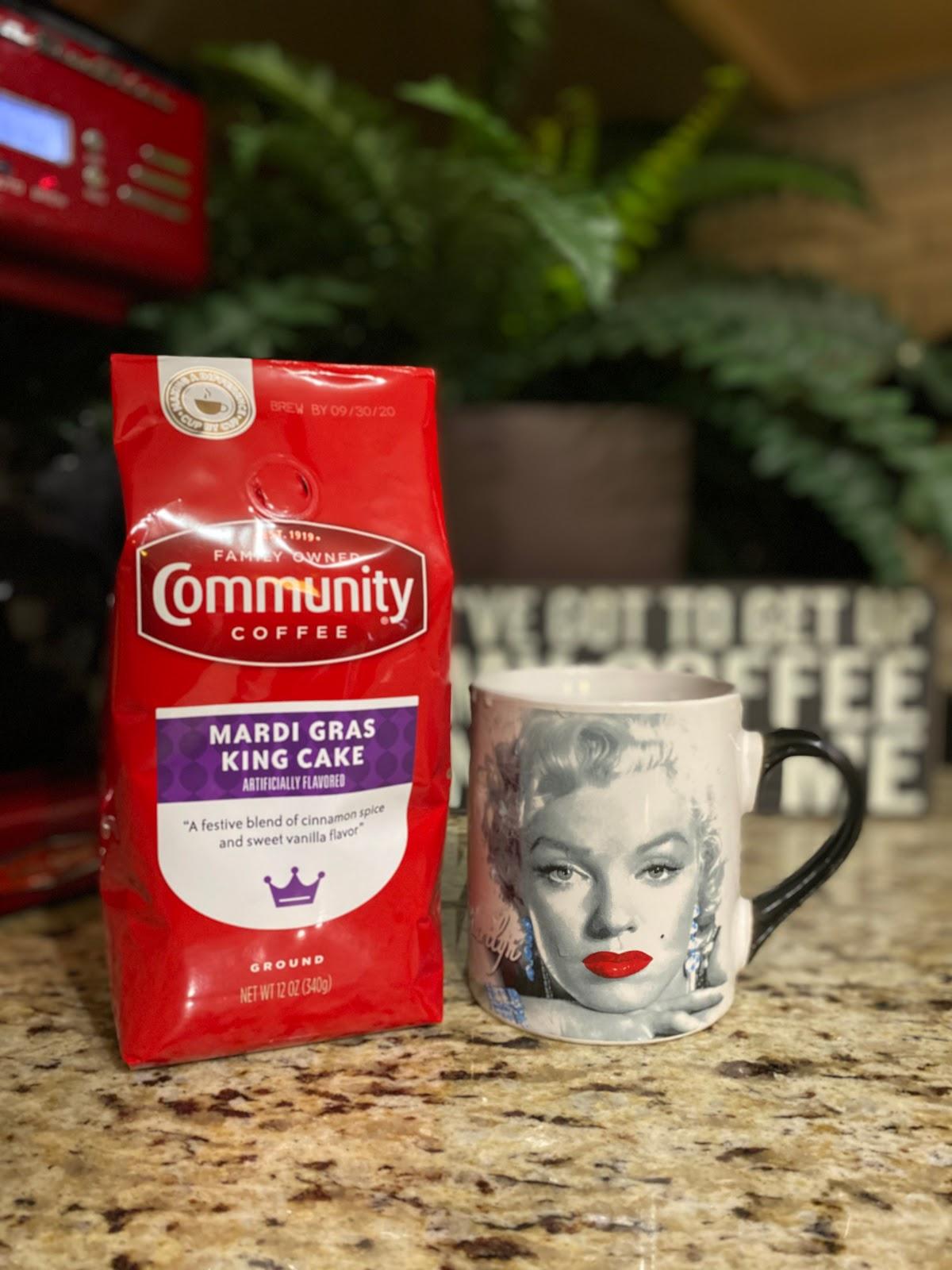 Community Mardi Gras Coffee and Marilyn Monroe Vintage Cup. Weekend Bits And Favorites