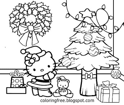 Charming hello kitty Christmas tree gifts and present printable young girls pretty coloring pictures