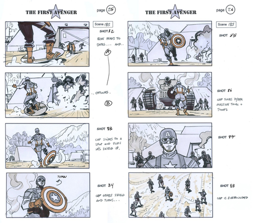 Captain America storyboard Film Filmmakers at Work - movie storyboard