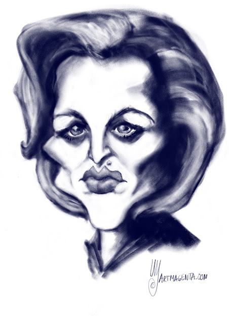 Gillian Anderson as agent Scully caricature by Artmagenta