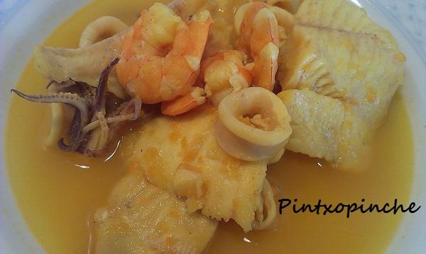 gamba, merluza, pescado, marisco, sal, sopa