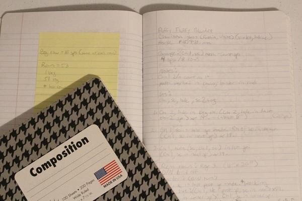 crochet, pattern, writing, notebook