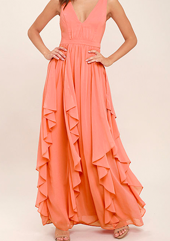 Lulus coral dress with ruffles