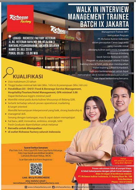 Lowongan Kerja Management Trainee Batch Richeese Factory