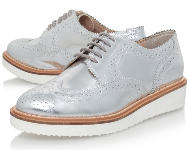 gold silver metallic brogues