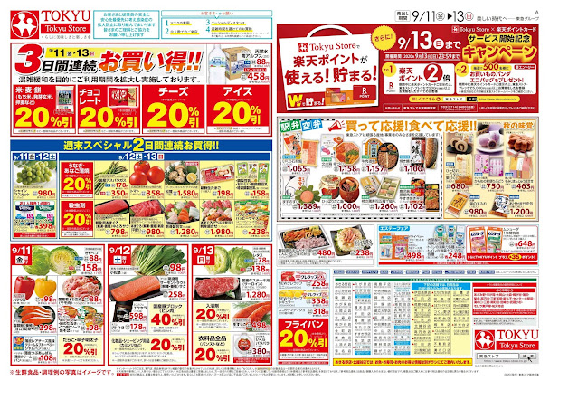 9月11日号(売出期間はチラシに記載)日用品は日替り商品のみの実施となります 北越谷東急ストア