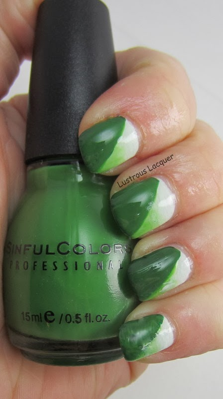 Lustrous-Lacquer-Green-white-manicure