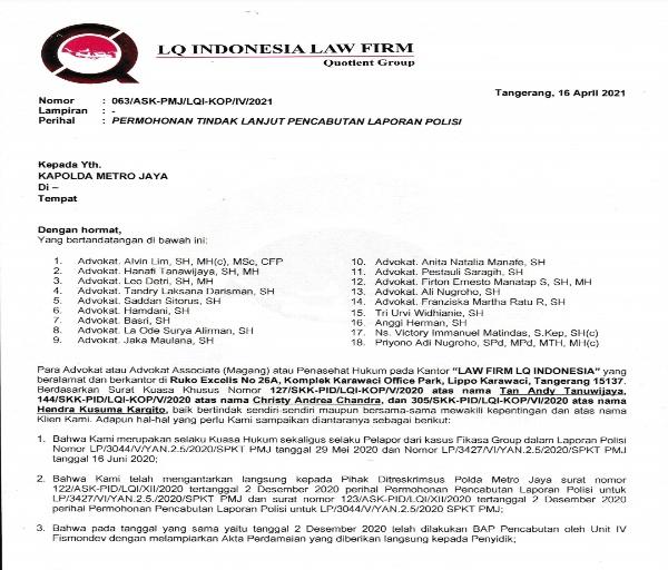 Tanggapan LQ Indonesia Lawfirm Tentang Catut Nama Kapolda