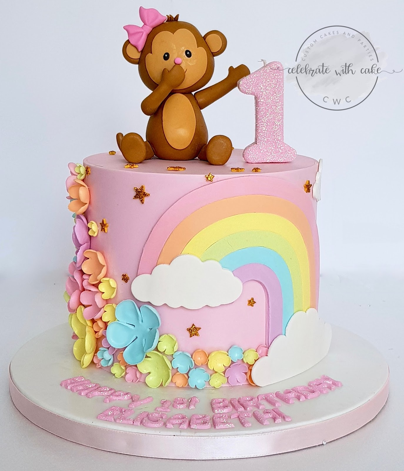 Fine Celebrate With Cake Monkey Flowers And Rainbow First Birthday Cake Funny Birthday Cards Online Alyptdamsfinfo