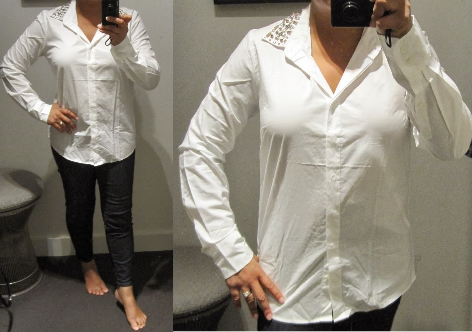33547ca0 ... but I wouldn't size down. If you're thin and have a smaller chest  there's a chance you might want to size down one. Note that it's a boy  blouse.