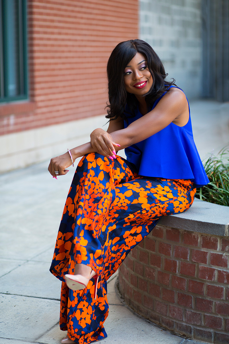 simply intricate nyc floral pants, cameo collective crop top, tiffany atlas bracelet