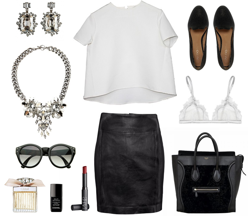 outfit black leather skirt white tee celine bag