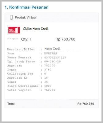 cek tagihan Home Credit online