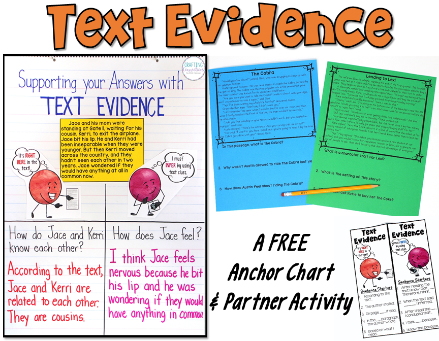 Teach students to support their answers by citing text evidence.This blog post includes free printables so that you can replicate the entire lesson with your upper elementary students.