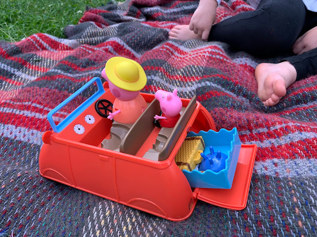 Showing Peppa's Big Red Car Toy with the Boot open showing the contents
