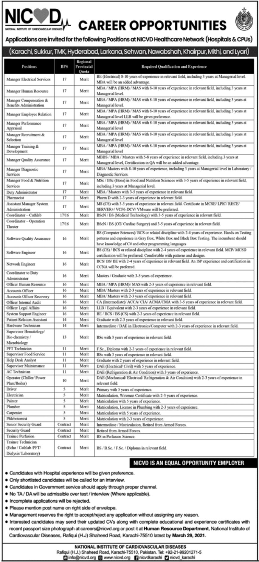 government,national institute of cardiovascular diseases nicvd karachi,manager, administrator, pharmacist, coordinator, professor, program manager, staff nurse, software quality assurance, software engineer, network engineer, officer human resource, and many more,latest jobs,last date,requirements,application form,how to apply, jobs 2021,