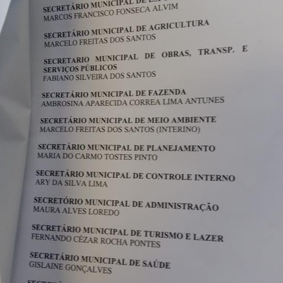 O atual prefeito José Eliezer divulgou a lista dos secretários nomeados por  ele f66cb13853052