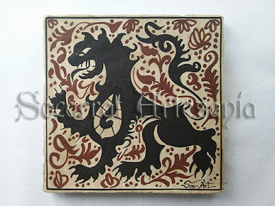 León rampante en actitud de ataque o defensa. Original de Paterna s.XV. Soc-Art. Socarrat Artesanía