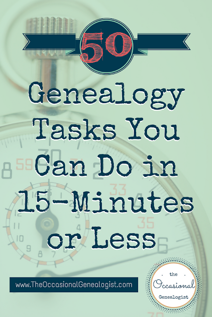 50 genealogy tasks in 15-minutes. No illadvised genealogy shortcuts, just great tips and ideas to help you do more genealogy. #genealogy #familyhistory #genealogyshortcuts