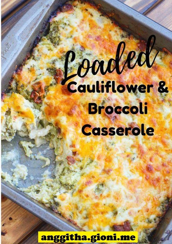 Loaded Cauliflower Broccoli Casserole
