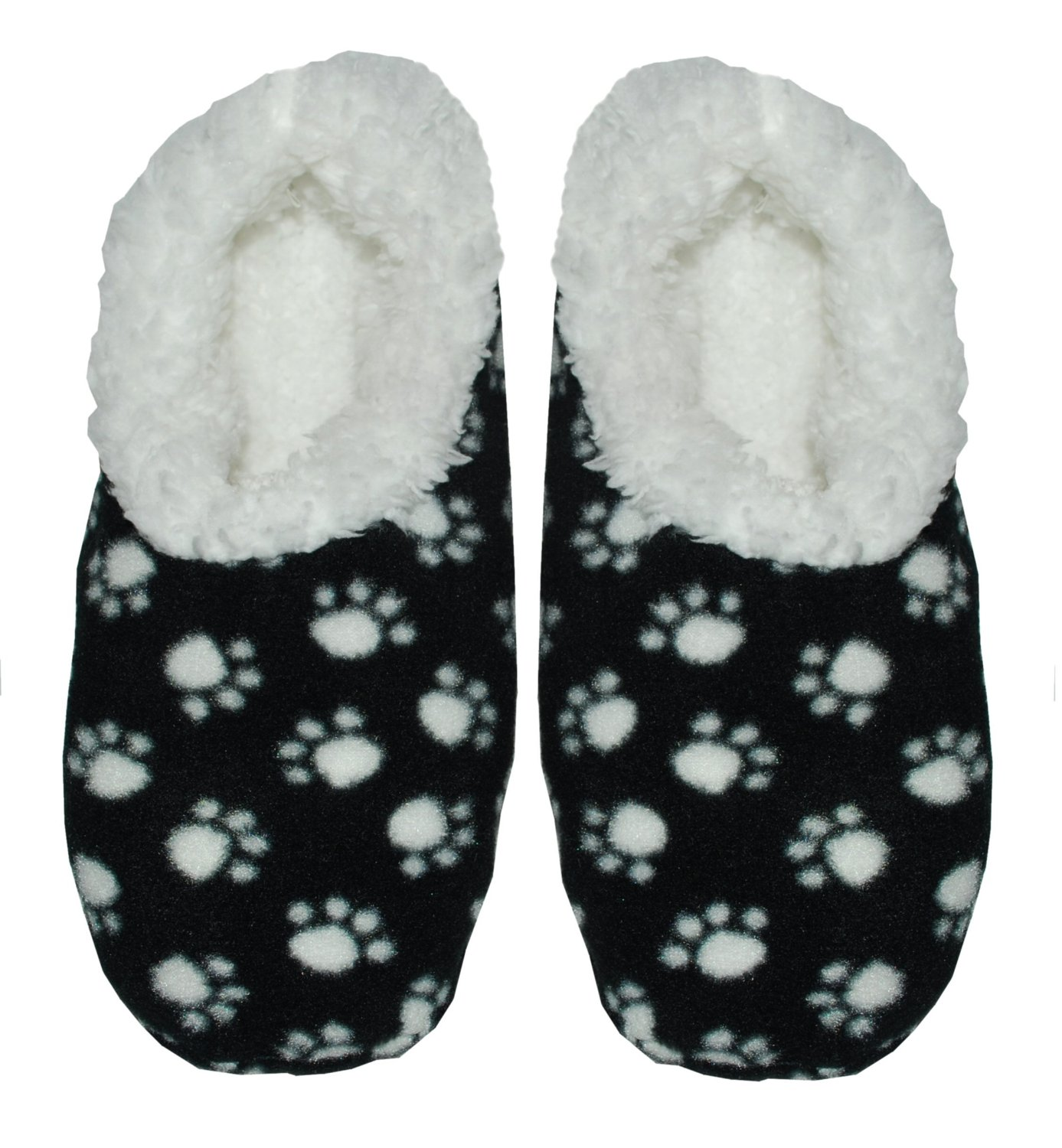 Snoozie Slippers Snoozies Paw Print Fleece Lined Women S