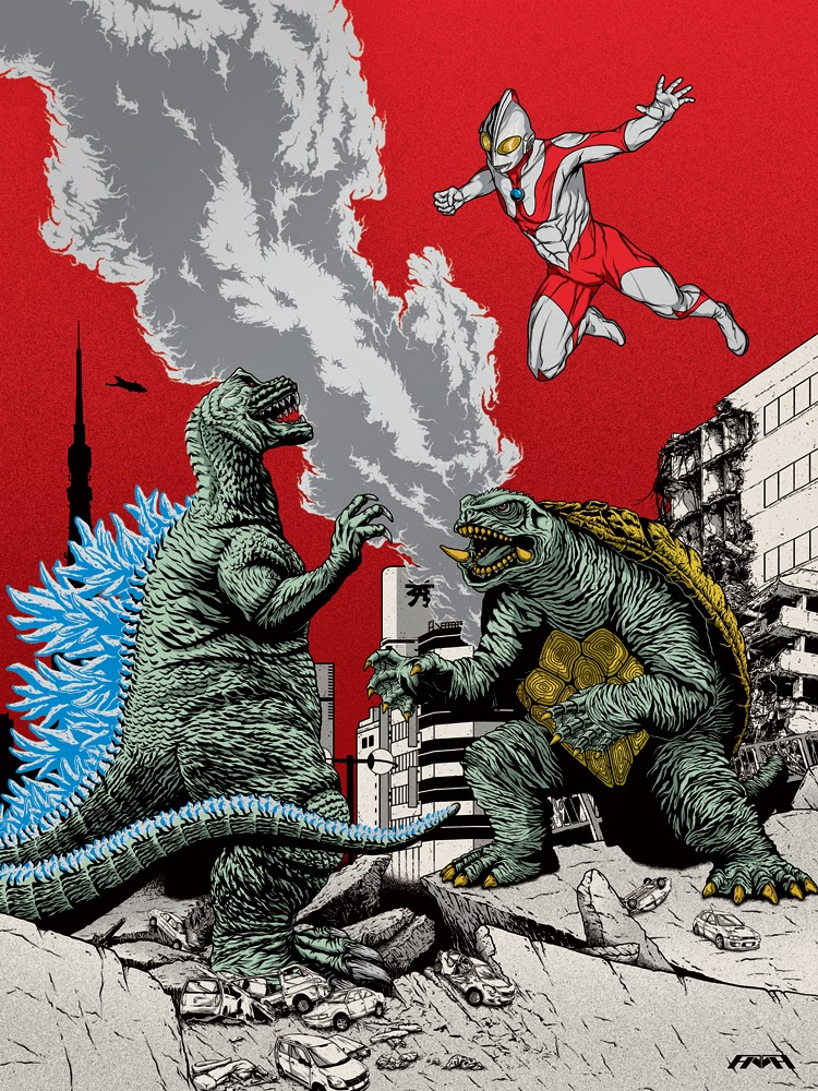 Guzu Gallery presents Strange Beasts 2 A Tribute to the King Group Art Show - Tokyo Titans (Godzilla vs. Gamera & Ultraman) by Half-Human (Eric Torres & Vincent X. Torres)