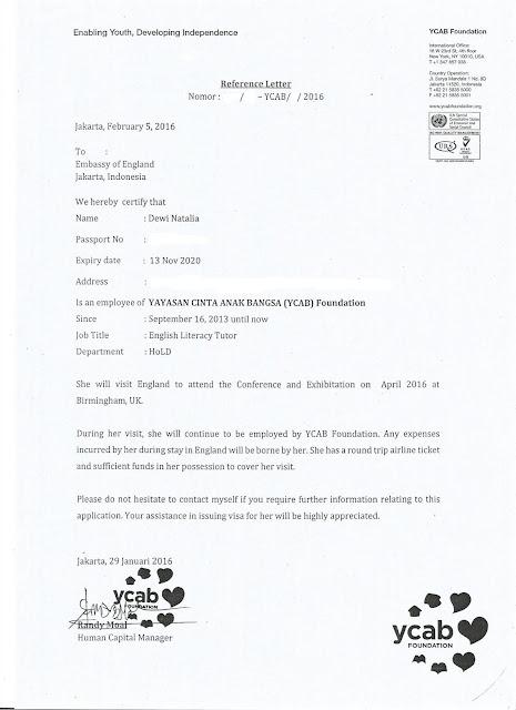 Surat Sponsor untuk Visa Inggris