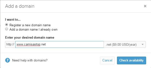 registrar novo domínio em loja virtual shopify